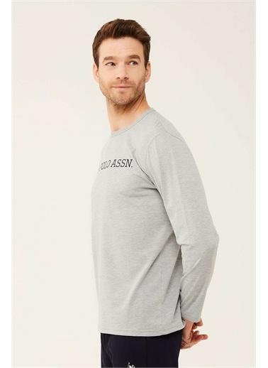 U.S. Polo Assn. U.S. Polo Assn. Erkek Beyaz Uzun Kollu T-shirt Gri